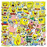 50pcs Cartoon Sp_ngeB_b Vinyl Stickers car Sticker for Snowboard Motorcycle Bicycle Phone Computer DIY Keyboard Car Window Bumper Wall Luggage Decal Graffiti Patches