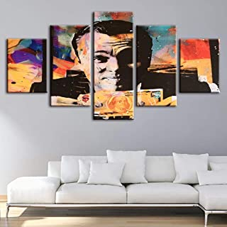 HIMFL 5 Panel Canvas Painting Printed Poster Home Decor Wolf of Wall Street Money Talks Hang Pictures Modular Artwork for Living Room