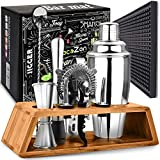 Cocktail Shaker Set with Bar Mat | Bartender Mixing Tool Kit with Elegant Wooden Stand | Premium Bar Set | Best Gifts...