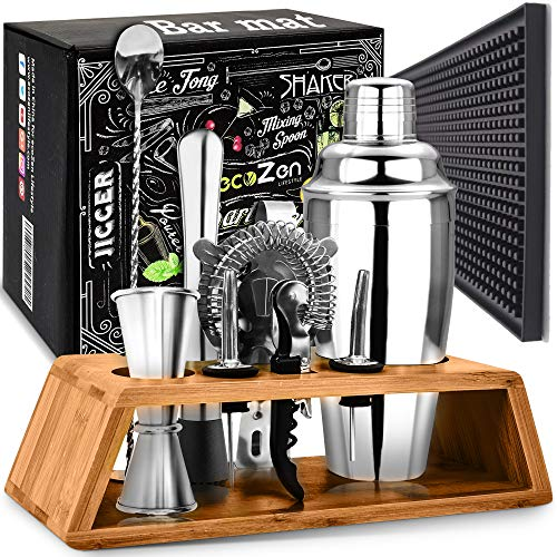 Cocktail Shaker Set with Bar Mat | Bartender Mixing Tool Kit with Elegant Wooden Stand | Premium Bar Set | Best Gifts Ideas for Him (Husband, Boyfriend, Dad) Ideal for housewarming