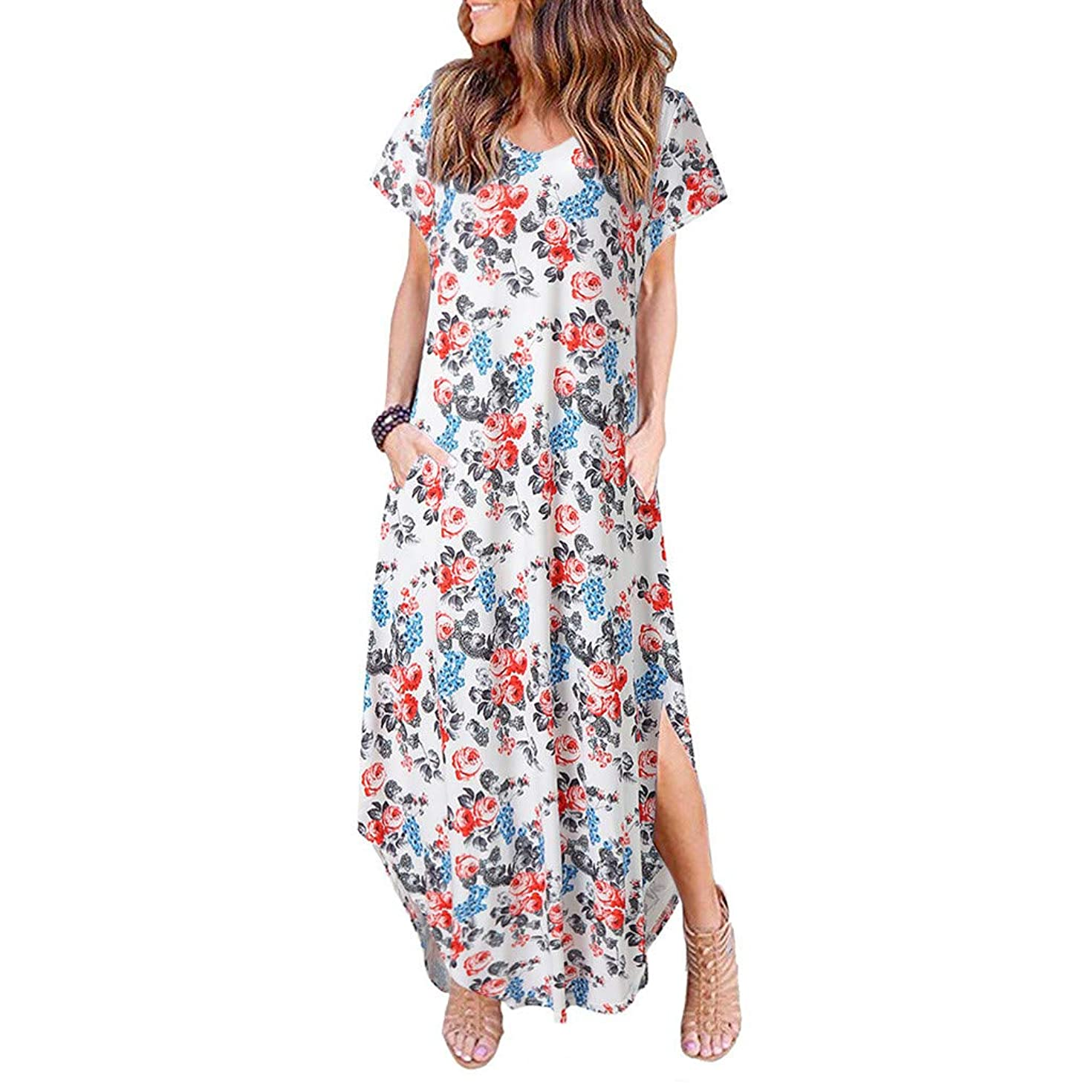 Women Short Sleeve Floral Print Crew Neck Split Casual T-Shirt Dress with Pockets