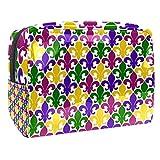 Bolsa de cosméticos para mujer Fleur de Lis sin costuras, con patrón de viaje, bolsas grandes de PVC para maquillaje, práctico organizador con cremallera