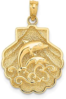 14k Yellow Gold 2 D Textured Sea Shell Mermaid Nautical Jewelry Dolphins Waves Pendant Charm Necklace Shore Fine Jewelry Gifts For Women For Her