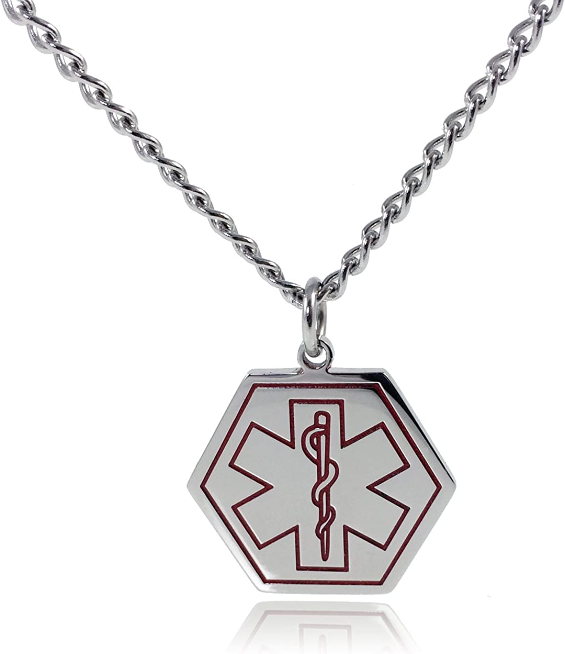 Max Petals Type 2 Diabetes Necklace Medical Alert ID Stainless Steel Pendant with 26