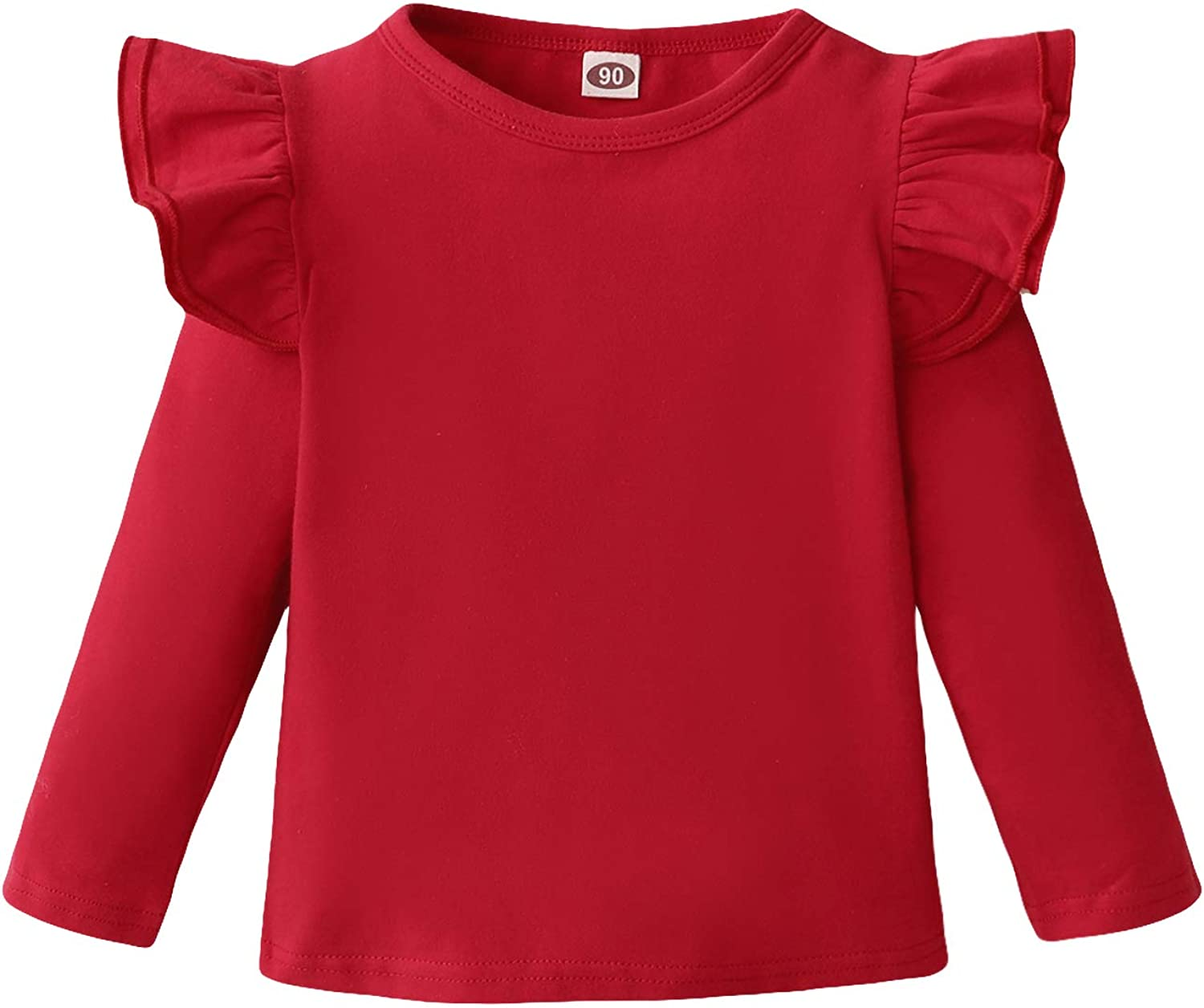 LYSMuch Toddler Baby Girls Ruffle Top Kids Cotton Outfit Solid Color Clothes