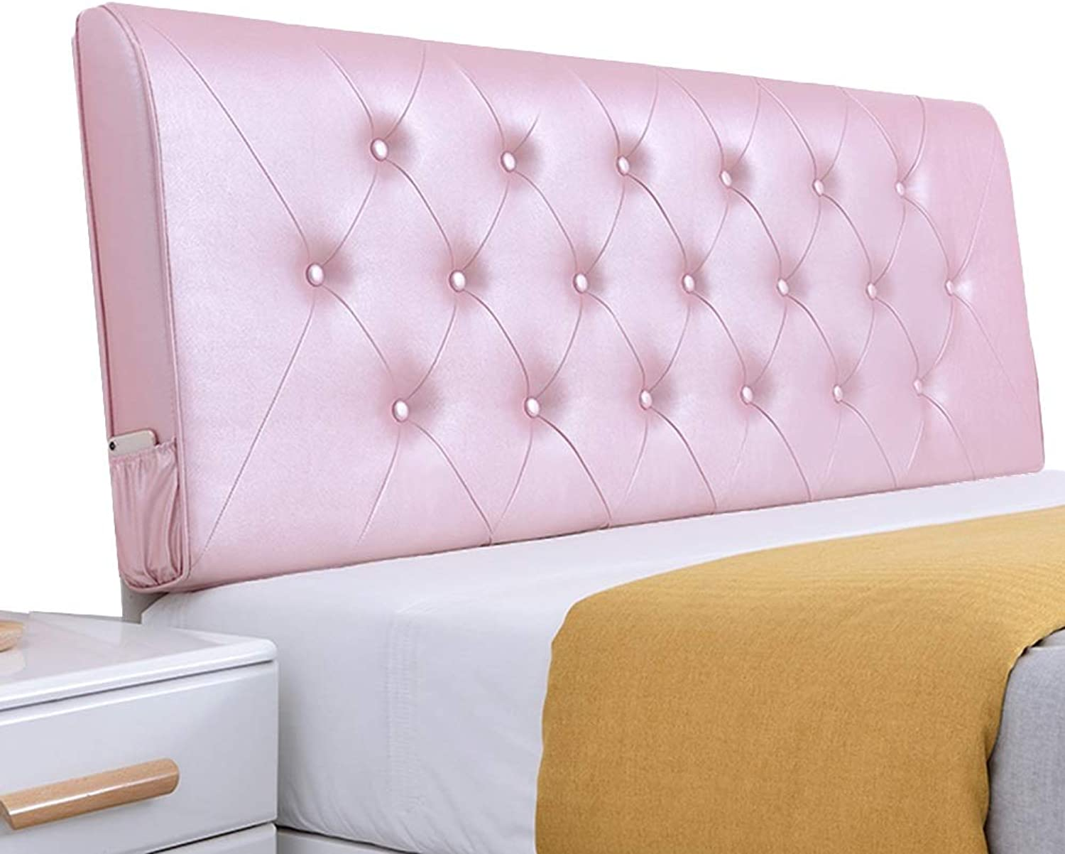WENZHE Upholstered Fabric Headboard Bedside Cushion Pads Cover Bed Wedges Backrest Waist Pad Washable Home PU Pillow Modern, 6 colors Optional (color   Pink, Size   120x60x10cm)