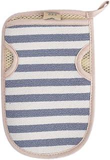 Lovely Stripe Scrubber Bath Mitt Glove for Shower Spa Body Back Exfoliating Mud Dead Skin Remover, Blue