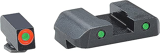 AmeriGlo Spartan Tactical Operator Front/Rear for Glock 42 and 43 Sight, Green/Orange