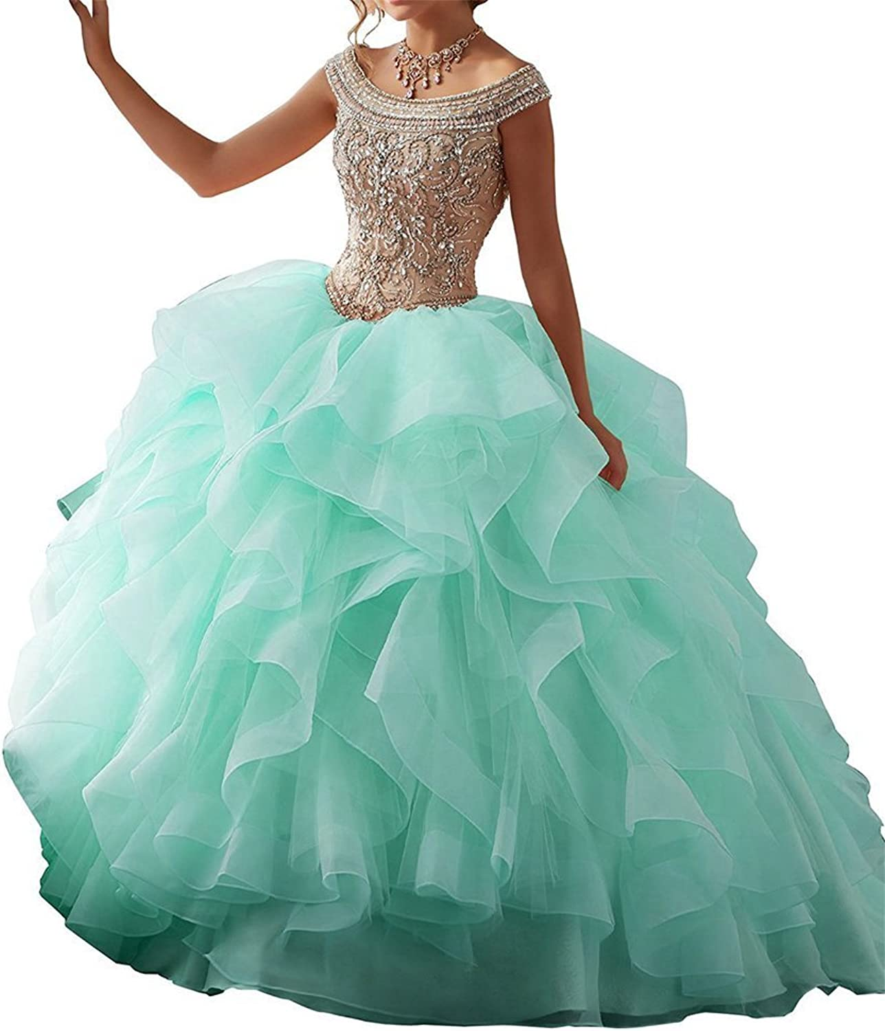 XSWPL Sweet 16 Ball Gowns OffShoulder Beaded Prom Quinceanera Dresses