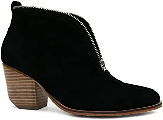 Carrie-10 Ankle High Stacked Leather Heel Zipper Booties
