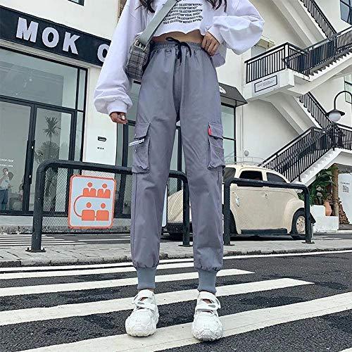 Pantalones Deportivos Monos EláSticos Negros Pantalones De CháNdal De Cintura EláStica para Mujer Pantalones Harem De Mujer Jogger Pantalones De Estilo Coreano M Gris