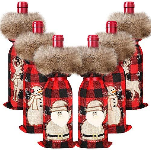 Fauge 6 piezas de Navidad botella de vino cubierta decorativa suéter de botella de vino con cuello de piel sintética