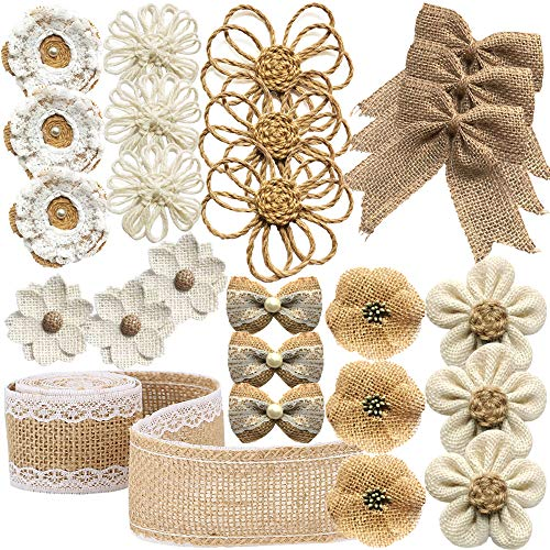 25PCS Handmade Natural Burlap Rose Flowers for Crafts, Jute Twine Burlap Flowers and Pearls Bow Rustic Burlap Decoration 8 Styles with 1 Lace Burlap Ribbon Roll for DIY Craft Wedding Party Christmas