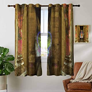 Youdeem-tablecloth Egypt Window Curtains with Grommets Set Unusual Mystical Icon Inside Rocky Walls and Stairs Authentic Culture Artful Image Blackout Grommet Top Curtains W63 x L72 Inch Tan Peach