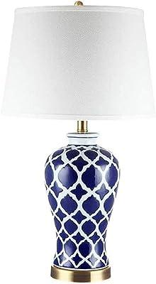 Lampe de table style chinois bleu et blanc porcelaine Lampe de bureau Lampe de chevet Chambre céramique Salon Déco lampe, Button Switch 220V