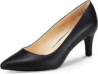 JENN ARDOR Women's Low Heels Ladies Closed Pointed Toe Slip On Mid Kitten Heel Dress Party Pumps