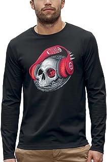 Koszulka z długim rękawem CZASZKA SŁUCHAWKI DJ CZERWONY - PIXEL EVOLUTION - Mężczyzna