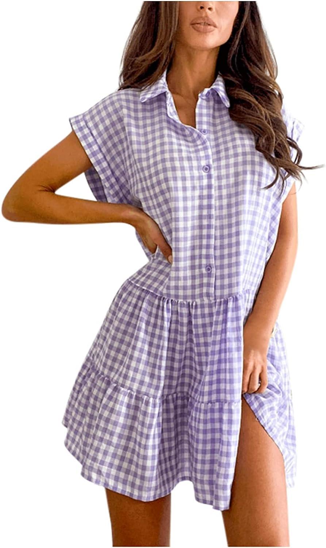 Wadonerful Ruffle Dress for Women Summer Sweet Square Collar But