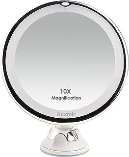 Auxmir Miroirs Grossissant x10 Miroir Maquillage Lumineux LED de Voyage avec Ventouse Miroir Grossissant Mural Rotation à ...