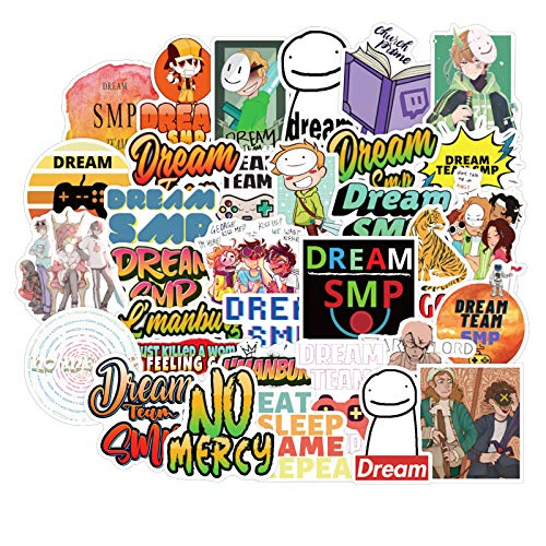 Dream SMP Stickers for Water Bottles 50 Pcs Cute,Waterproof,Aesthetic,Trendy Stickers for Teens,Girls Perfect for Waterbottle,Laptop,Phone,Travel Extra Durable Vinyl