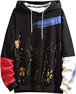 Beautyfine Men's Sweatshirts, Casual Fashion Patchwork Hoodie Long Sleeves Pullover Tops