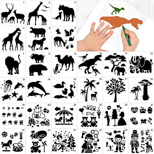 Qpout 30Pcs Zeichnungsvorlagen für Kinder, 5,1 * 5,1 Zoll Plastik Malerei Schablonen Dschungel Meer Tier Dinosaurier Clown Schablonen für Jungen Mädchen Tier Geburtstag Dinosaurier Party Malwerkzeug