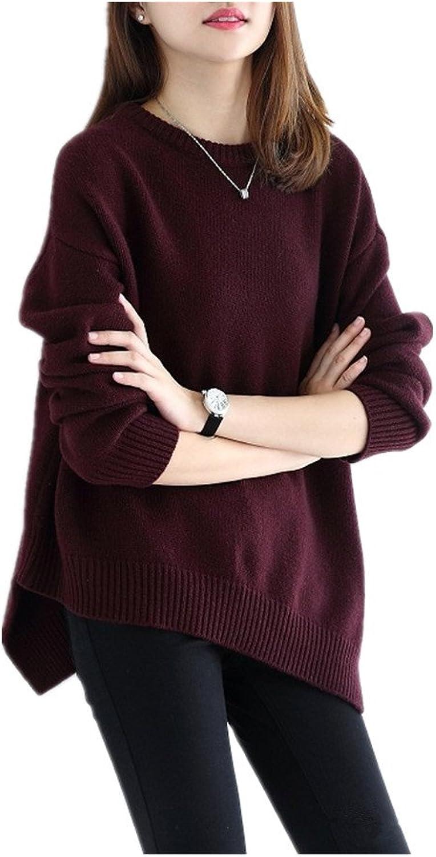 XIAO WEN Women's Rrregular Loose Cashmere Sweater Tops Round Neck Thick Sweater
