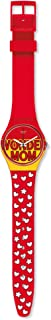 Swatch Two-Tone Silicone Contrast Hands Round Analog Watch for Women - Orange and Red