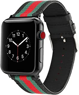 HUANLONG New Nylon Band Compatible with Apple Watch 38/40/42/44mm, Nylon with Leather Buckle Smart Strap Compatible for iwatch Series 1/2/3/4/5 (Black/Green/Red, 42mm/44mm)