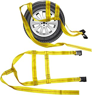 BANG4BUCK 2 Pieces 5ft Universal Adjustable Tie Down Tow Dolly Basket Straps for Demco Kar Kaddy Dollys 10,000 lb Strength with 2 Flat Hooks
