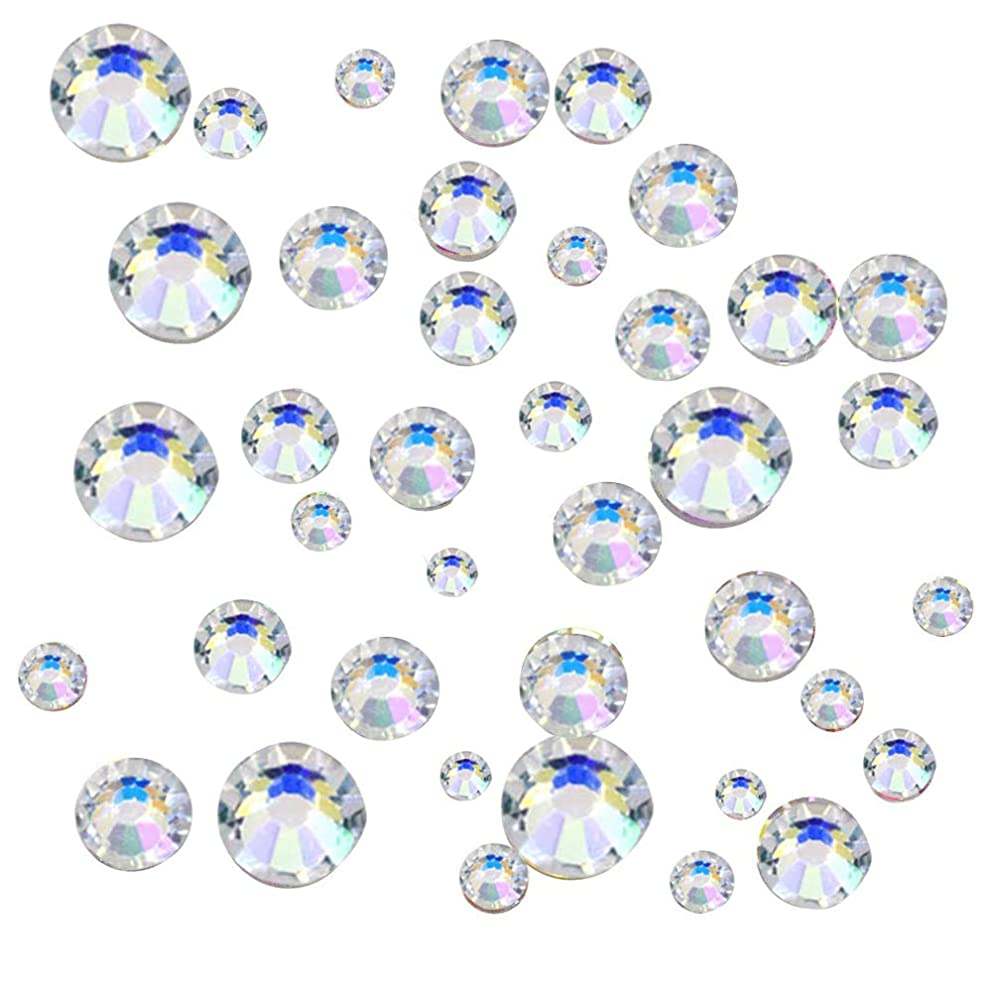 JPSOR 1000pcs Clear Colour Flat Back Rhinestones Round Crystal Gems 1.6mm,2mm,3mm,4mm,5mm, 5 Sizes