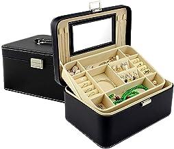 MU Boîte de Rangement Portable de ménage boîte à Bijoux en Bois Massif / 2 Couches boîte de Rangement de Stockage de Bijou...