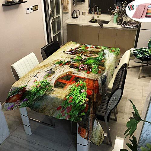 WEHOLY Nappes imperméables Rectangulaire Easy Wipe City Imprimé Housse de Table antitache pour Salle à Manger Garden Home Party Décoratif (Provence Verte, 90x90cm)