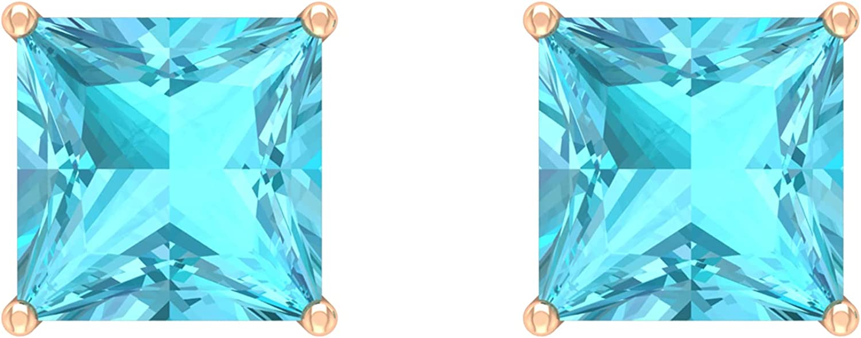 8X8 MM Princess Cut Swiss Blue Topaz Solitaire Stud Earring,14K Solid Gold,Swiss Blue Topaz