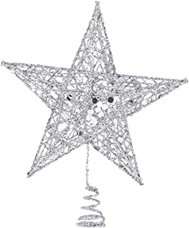 Uonlytech 15cm Star Tree Topper 5 Pointed Glitter Treetop Shiny Christmas Tree Ornament for Home Party(Silver)