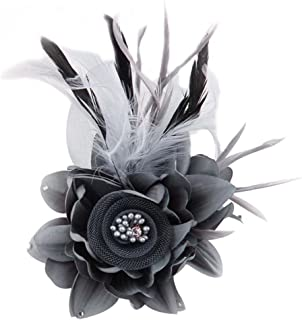 black and grey fascinator