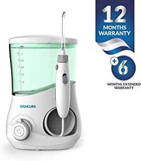 ORACURA Tabletop Water Flosser OC003 Green Tank | 600 ml tank capacity | 10 Adjustable Pressure | 3 Standard, 1 tongue scrapper Tip | Teeth Cleaner for Personal Braces Care| Perfect for Family