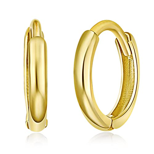 Extra Small 14k Yellow or White Gold 1.5mm Thickness Huggie Earrings (8 x 8 mm)