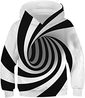 AIDEAONE Boys Girls 3D Print Casual Pullover Hoodies Hooded Sweatshirts Tops Blouse with Kangaroo Pockets Age 6-16