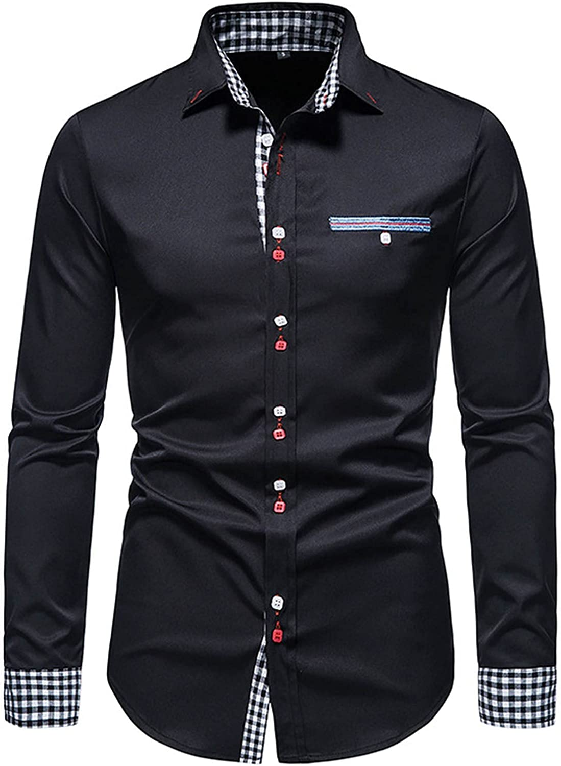 Men's Dress Satin V Neck Long Sleeves Button Down Shirt Slim Fit Prom Party Shirts with French Cuff Chemise