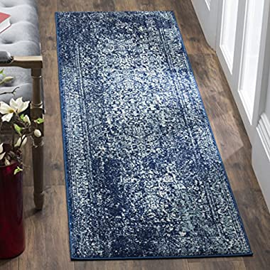 Safavieh Evoke Collection EVK256A Vintage Oriental Navy and Ivory Runner (2'2  x 7')