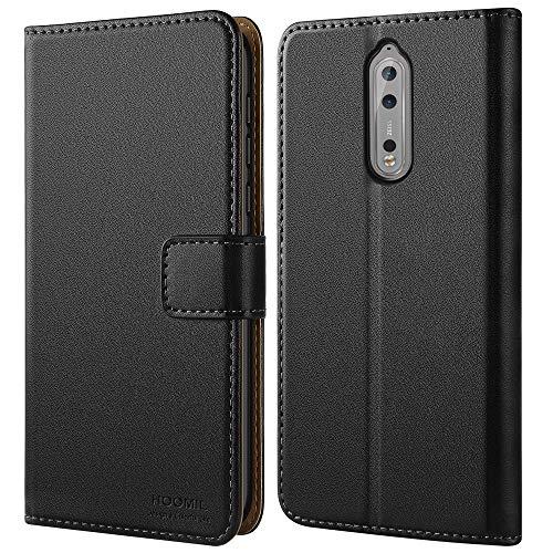 HOOMIL Handyhülle für Nokia 8 Hülle, Premium Leder Flip Schutzhülle für Nokia 8 Tasche, Schwarz