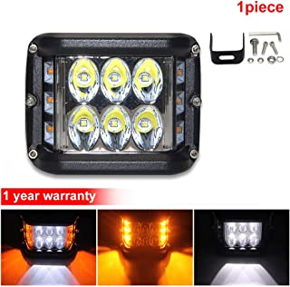 Side Shooter LED Light Bar Flashing 4800LM White Amber 4inch Led Driving Lights - 60W Led Work Light with Signal Light 1pc Pack for JEEP SUV ATV Motorcycle Truck 4x4 Boat (180D)