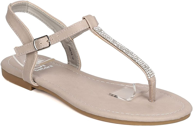 BETANI Women Leatherette Rhinestone T-Strap Flat Sandal GC19