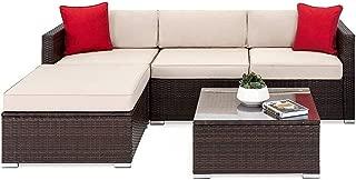 OAKVILLE FURNITURE 61105 5-Piece Outdoor Patio Furniture Rattan Sectional Sofa Conversation Set Brown Wicker, Beige Cushion