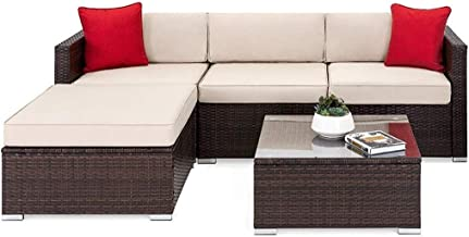OAKVILLE FURNITURE 61105 5-Piece Outdoor Patio Furniture Rattan Sectional Sofa Conversation Set Brown Wicker, Beige Cushion