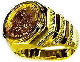 14K Gold Mens 17Mm Coin Ring With A 22K Mexican Dos Pesos Coin-Random Year Coin
