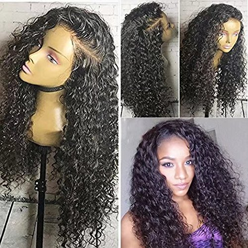 Hot Glueless Curly Water Wave Weavy Wig Brazilian Perruque Cheveux Humain Deep Curly wave Sans Colle 180% Density Lace Front Wigs with Baby Hair (24 i