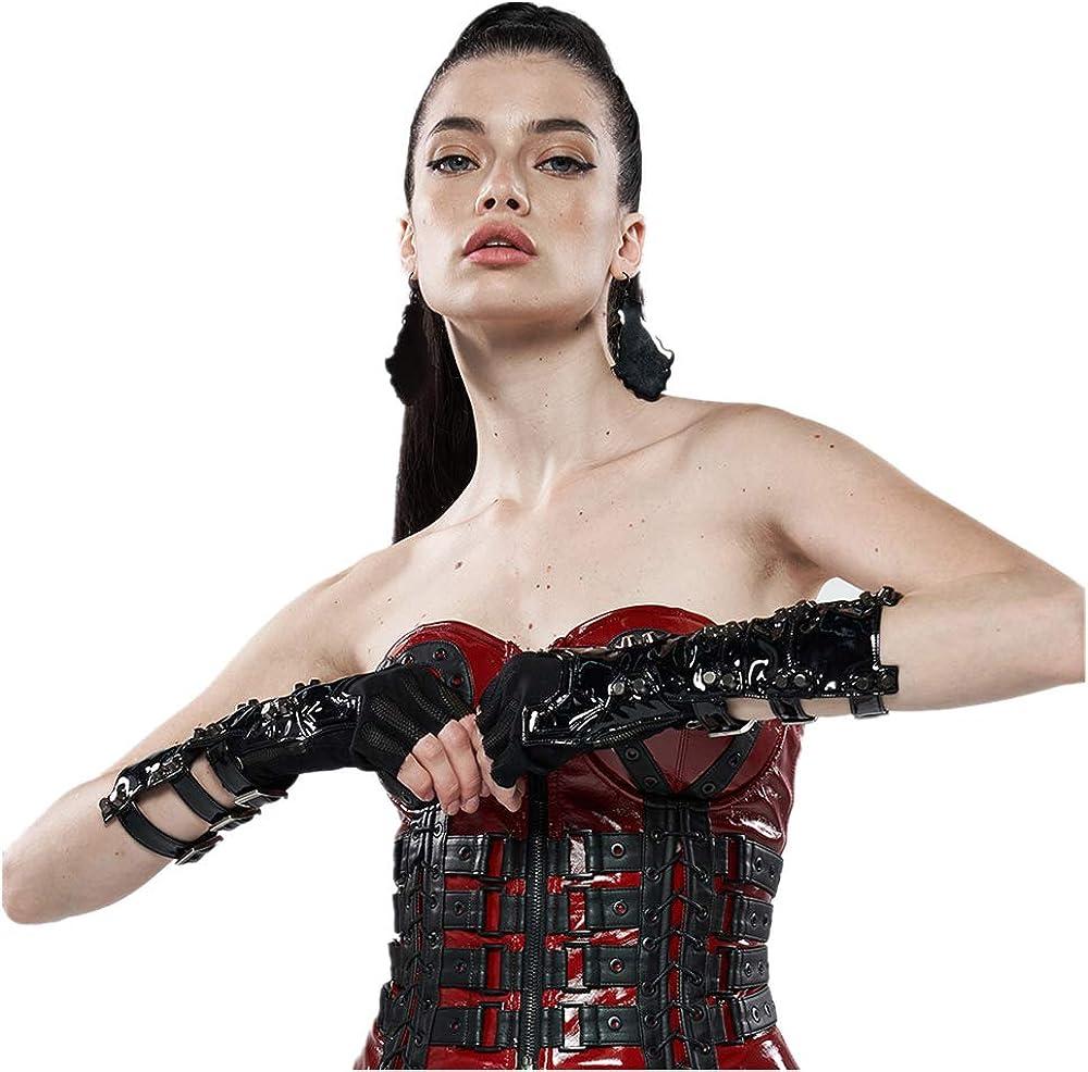 PUNK RAVE Women Futuristic Punk Gloves Stretch Knit Splicing Pu Leather Cool Metal Rivets Net Half Cover Gloves