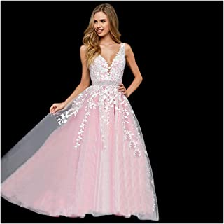 17c7ea800ed Abaowedding Women s Wedding Dress for Bride Lace Applique Evening Dress V  Neck Straps Ball Gowns